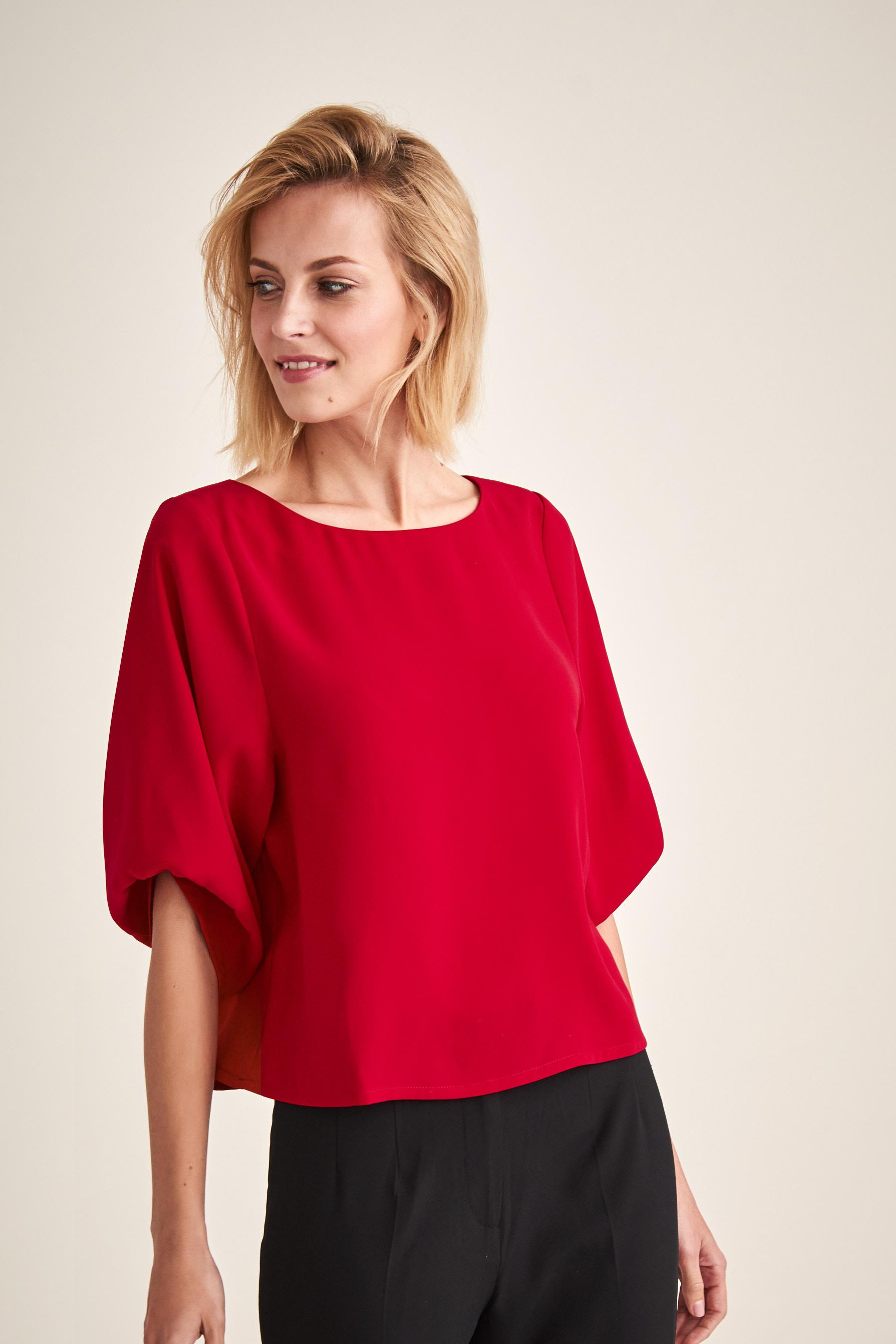 EVENING BLOUSE WITH PULLED UP SLEEVES LAMA