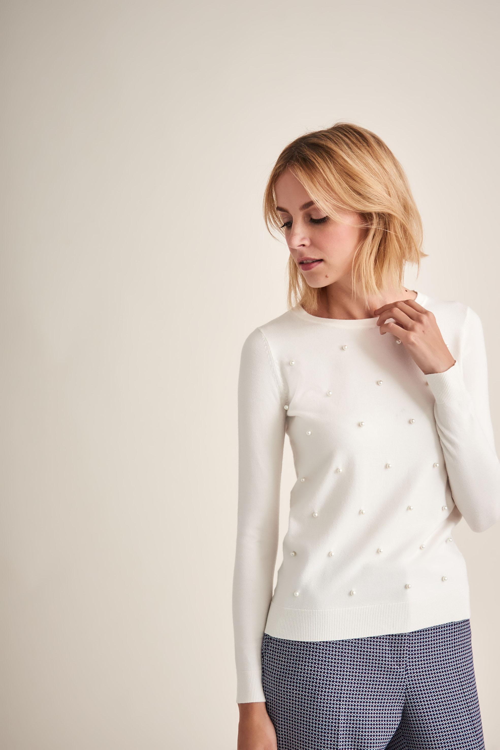 DELICATE LADIES' SWEATER WITH PEARLS AZJA
