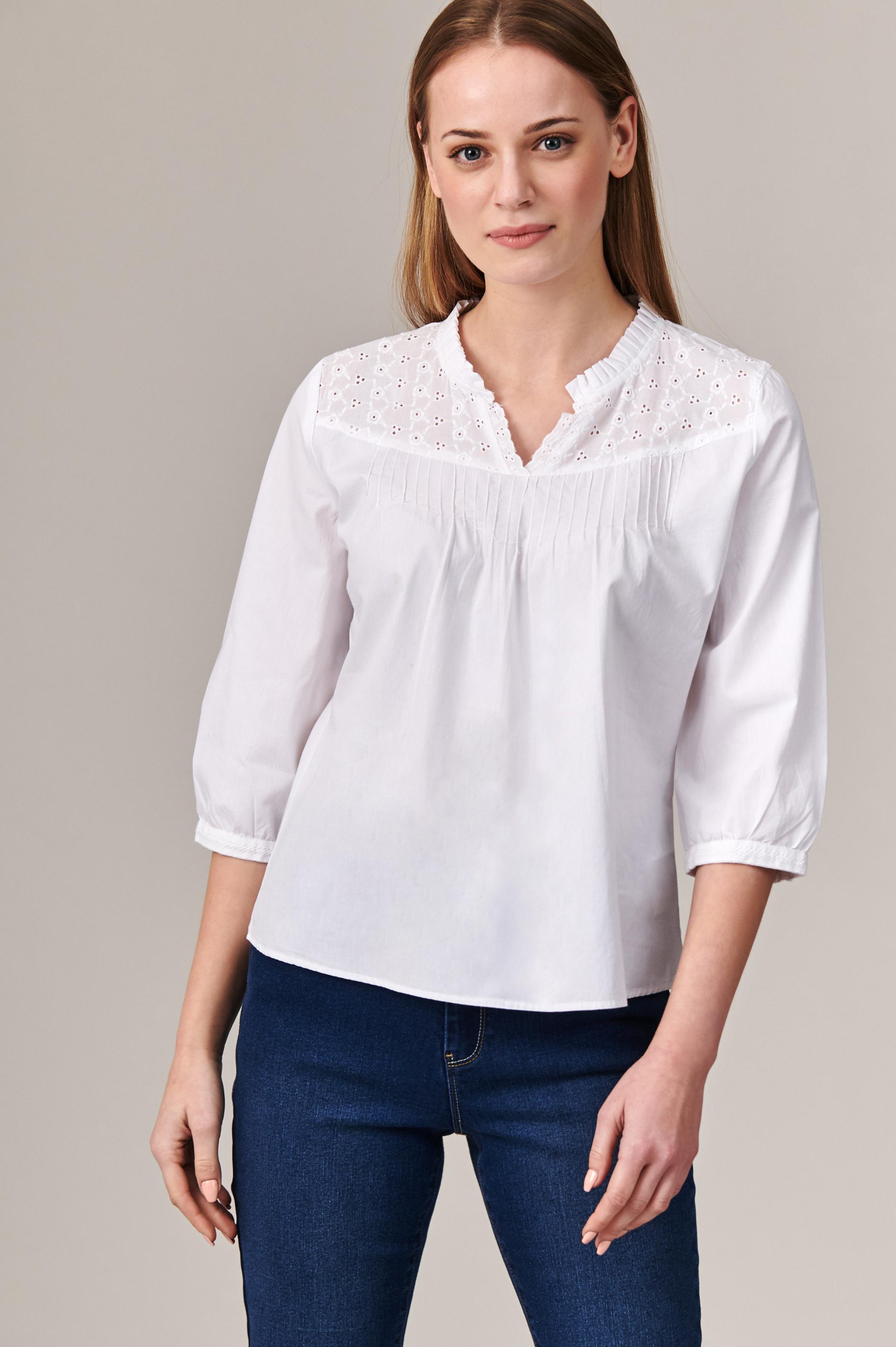 COTTON BLOUSE WITH EMBROIDERED TOP OZANI