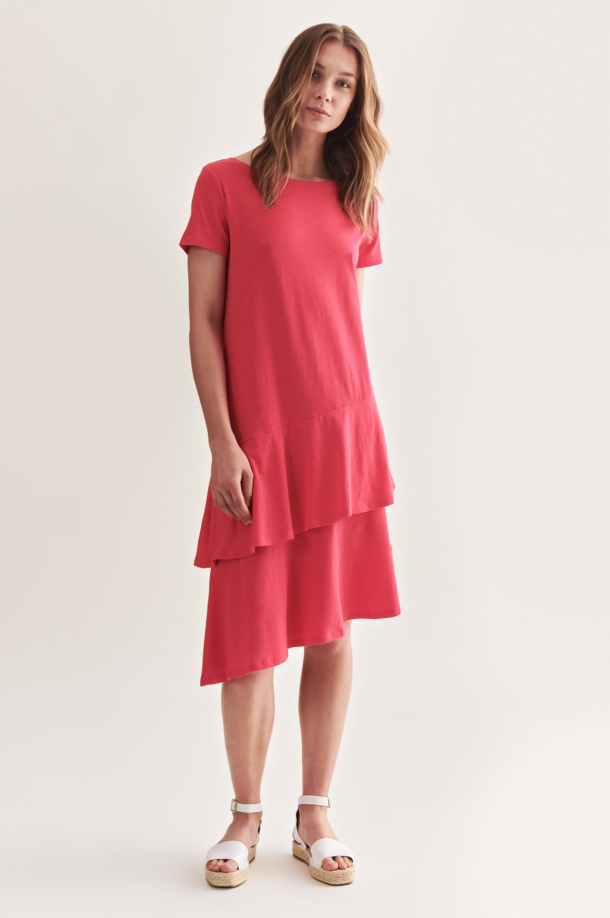 ASYMETRIC DRESS WITH FRILL WAPIANO