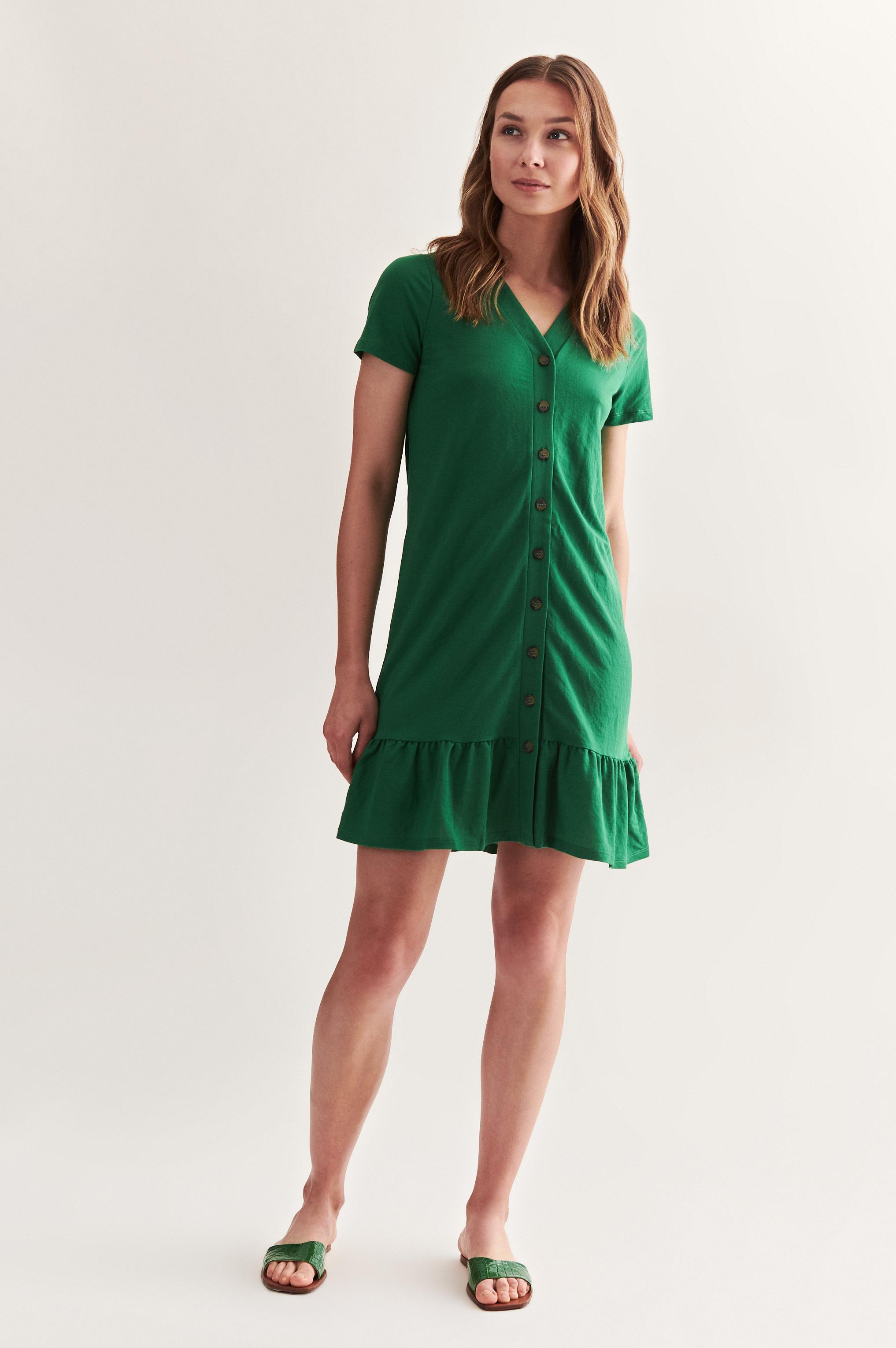 GREEN DRESS WITH FRILL APIANA