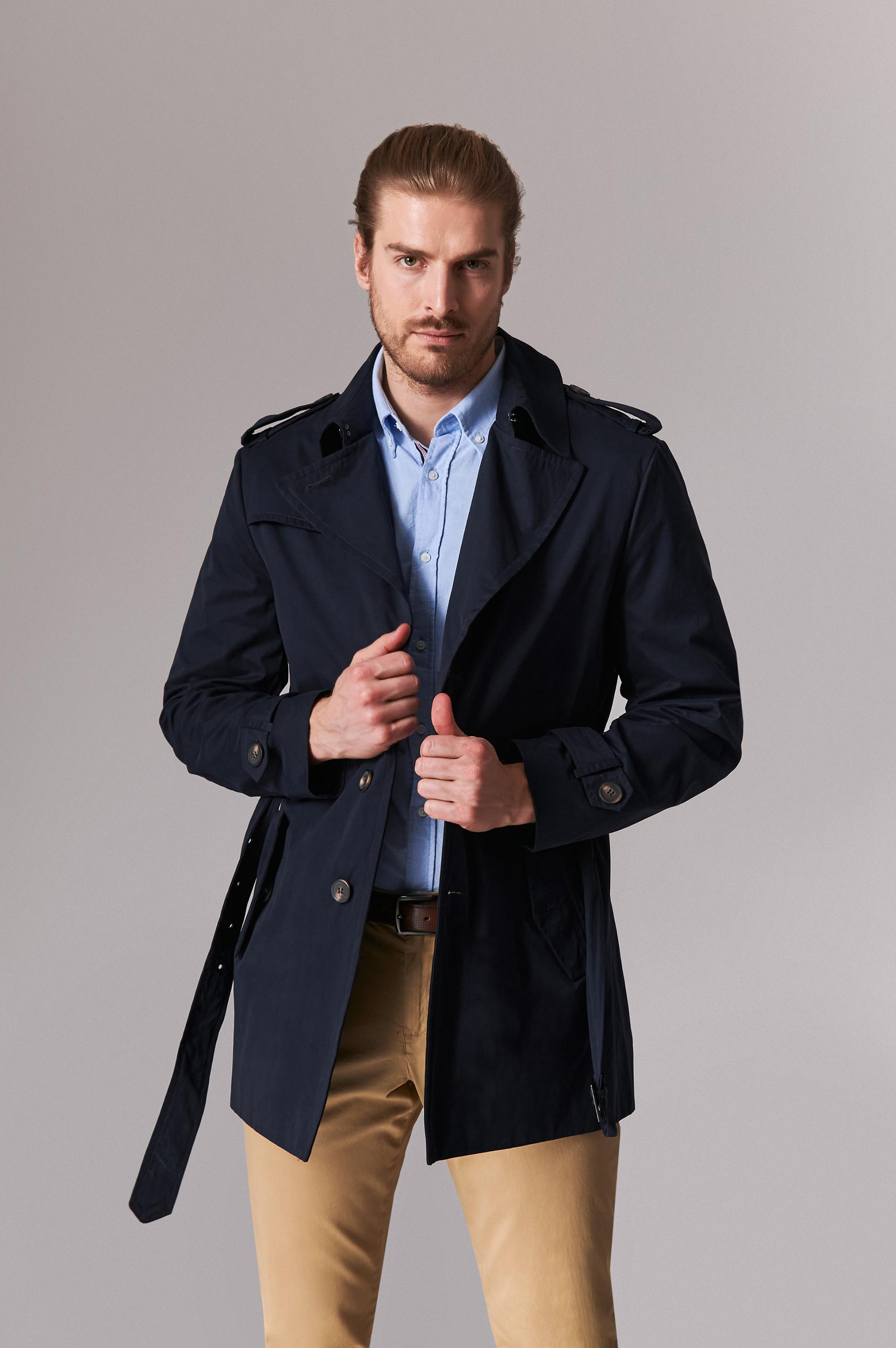 ELEGANT MEN'S FABRIC COAT WITH BELT ALBERT