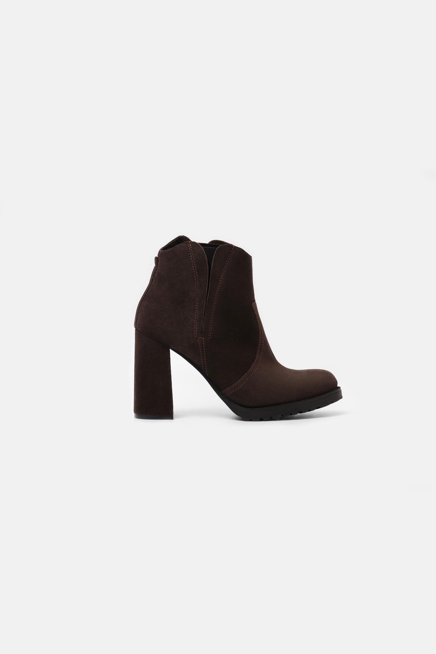 SUEDE ANKLE HIGH-HEELED BOOTS COCOA