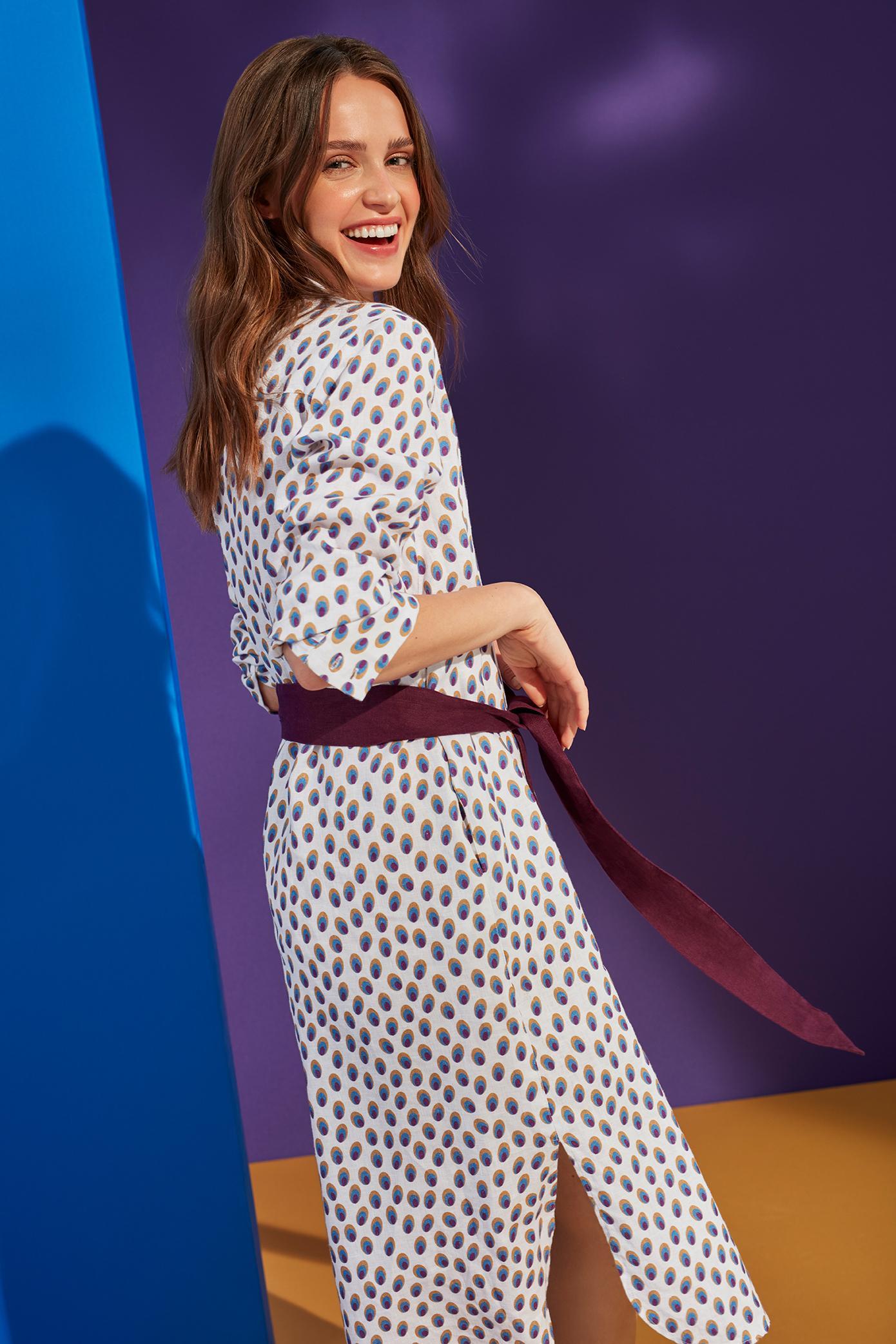 NEOFOLK: LINEN SHIRT-LIKE DRESS LAMOKINA