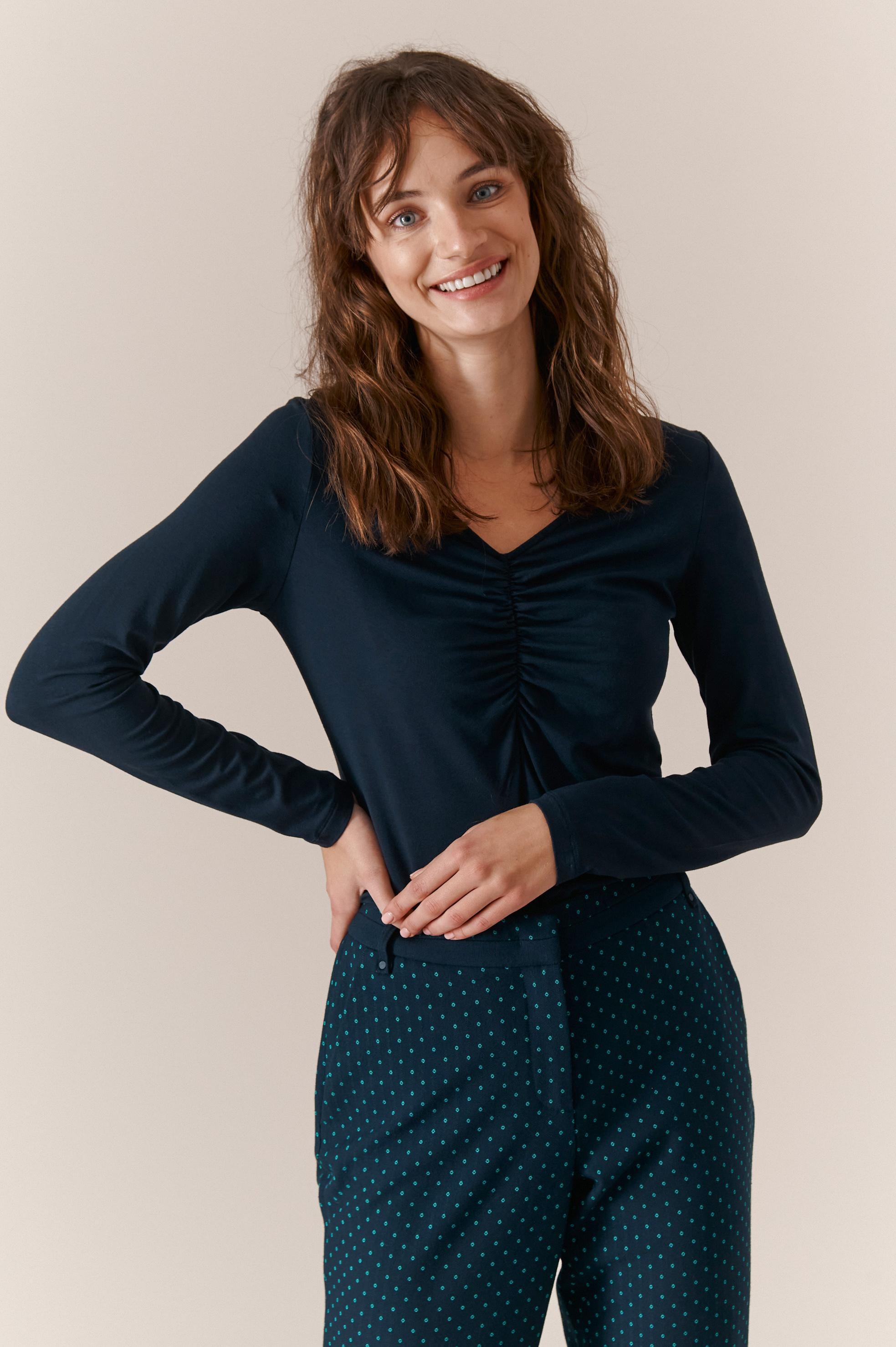 LADIES' KNITTED BASIC BLOUSE TOINI